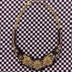 Jeweled & Embroidered Star Charmed Choker Collar